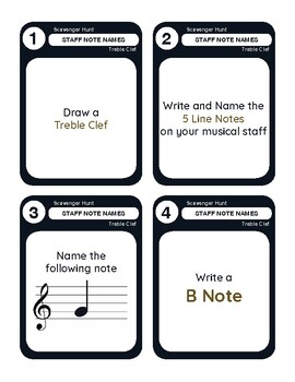 Task Cards Scavenger Hunt - Music: Staff Note Names - Treble Clef Edition