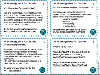 Science Task Cards - Investigations