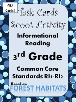 Task Cards Scoot Activity 3rd Grade Reading Comp Informati