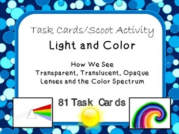 Task Cards Scoot Activity: Light and Color