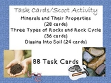 Task Cards Scoot Activity Rocks, Rock Cycle, Minerals, Layers of Soil