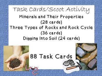 Task Cards Scoot Activity Rocks, Rock Cycle, Minerals, Lay