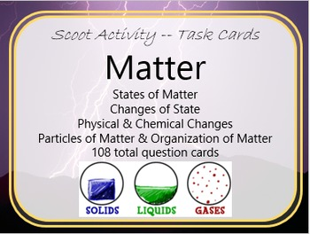 Task Cards Scoot Activity States of Matter, Changes of Matter