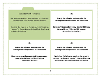 Task Cards: Semicolons and Colons