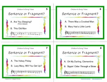 Task Cards--Sentence or Fragment with Children's Song Titles