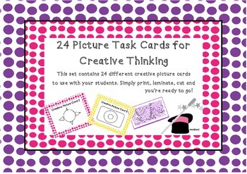 Visual Arts Creative Task Cards Set Drawing Picture Task C