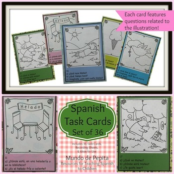 Task Cards Set of 36 Spanish Printable Resources