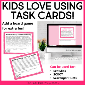Task Cards: Shades of Meaning Words for Women's History Month: 3rd - 5th Grade