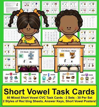 Task Cards - Short Vowels - 60 Cards Mixed Vowels - 2 Sets