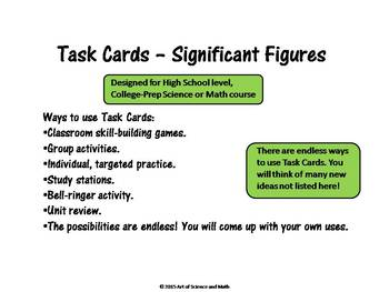 Task Cards - Significant Figures - High School Science and Math