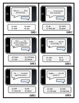 Grammar Task Cards - SIMPLE PAST TENSE - Cell Phone Layout!