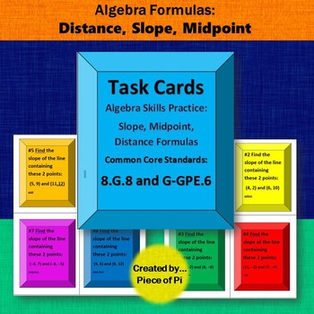 Distance Formula Slope Midpoint Task Cards Activity 8.G.8 G-GPE.6  Practice
