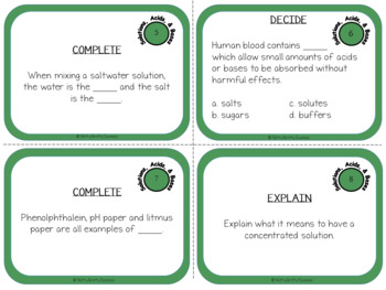 Solutions, Acids and Bases: Physical Science Task Cards