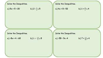 Task Cards: Solve 2 Step Inequalities