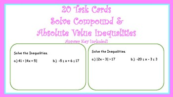 Task Cards: Solve Compound & Absolute Value Inequalities