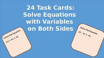 Task Cards: Solve Equations w/ Variables on Both Sides