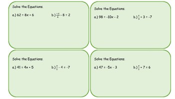 Task Cards: Solve Two-Step Equations