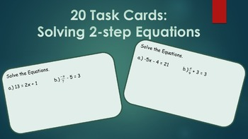 Task Cards: Solving 2- Step Equations