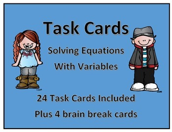 Task Cards: Solving Equations with Variables (1 step)
