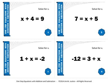 Task Cards BASIC - Solving 1-Step Equations w/Addition & Subtraction (Integers)