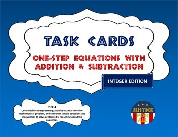 Task Cards BASIC - Solving 1-Step Equations w/Addition & S