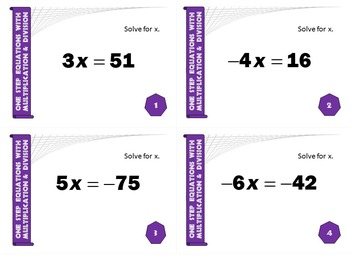 Task Cards BASIC - Solving 1-Step Equations w/Mult. & Division (Integers)
