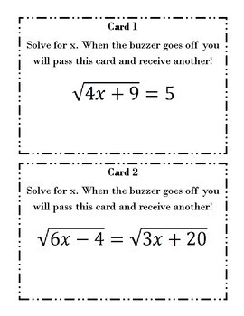 Task Cards: Solving Radical Equations