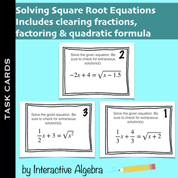Task Cards Solving Square Root Equations