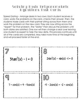 Task Cards - Solving Trigonometric Equations