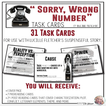 """Task Cards - """"Sorry, Wrong Number"""" by Lucille Fletcher"""