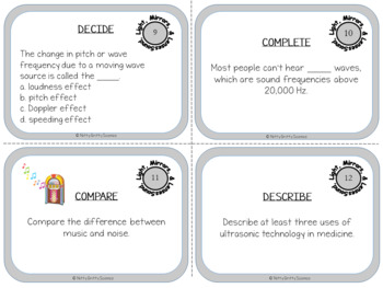 Sound, Light, Mirrors and Lenses: Physical Science Task Cards