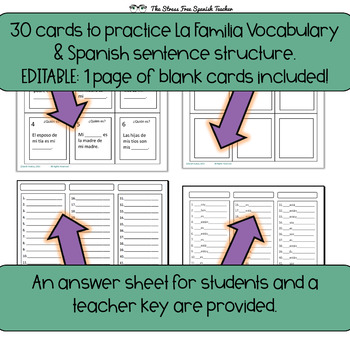 Task Cards: Spanish, Family Vocabulary Practice (+ Tener!) INK FRIENDLY VERSION