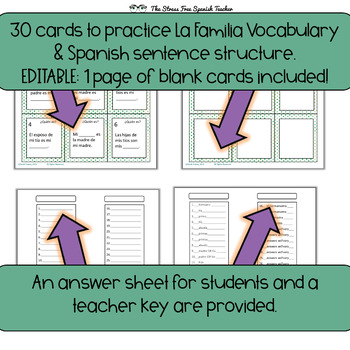 Task Cards: Spanish, Family Vocabulary Practice (and the verb Tener!)