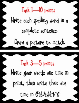 Task Cards-Spelling and Vocabulary
