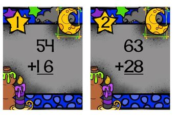 Task Cards Spooktacular Double Digit Addition with Regrouping
