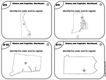 Task Cards: States and Capitals Unit: Northeast Region Capitals (US Geography)