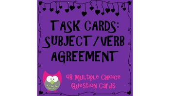 Task Cards: Subject Verb Agreement