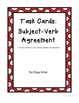 Task Cards:  Subject-Verb Agreement