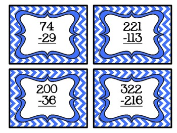 Task Cards- Subtraction With and Without Regrouping Chevron Theme