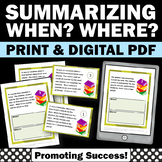Summarizing Activities, WHEN WHERE, Wh Questions Speech Therapy Worksheets