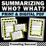 Summarizing (wh Questions) Worksheets Task Cards & Writing