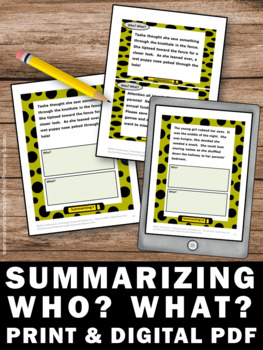 Summarizing Activities WHO WHAT Wh Questions Speech Therapy Worksheets