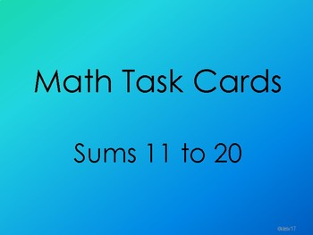 Task Cards - Sums 11-20