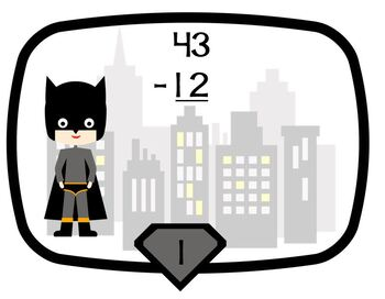 Task Cards Superhero Double Digit Subtraction No Regrouping