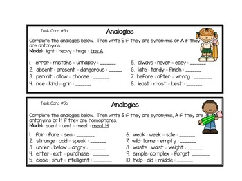 Synonyms, Antonyms and Homophones Task Cards