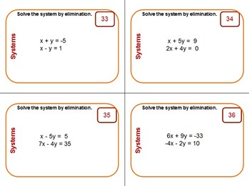 Task Cards - Systems of Linear Equations