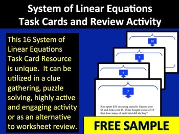 Systems of Linear Equations Task Cards and Review Activity - Sample