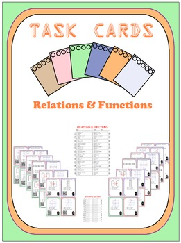 Task Cards - Relations & Functions (With Optional QR)