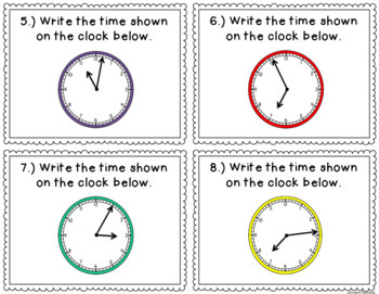 Telling Time to the Minute Task Cards