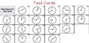 Task Cards Telling Time with Clocks